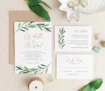 wedding photo - Greenery Wedding Invitation Template • Printable Wedding Invitation Suite • Modern Rustic Wedding • Calligraphy • Word or Pages • MAC or PC