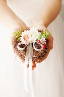 wedding photo - Ring Bearer Pillow - Rustic Wedding Pillow Alternative Ring Pillow Bird Nest Ring Holder - Shabby Chic Woodland Wedding Alice in Wonderland