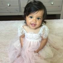 wedding photo - Ballade del Vientre Blush Flower Girl Dress/ Birthday Tutu Dress/ Baby Photoshoot outfit/ Baby Tutu Dress/ Baby Girls 1st Birthday
