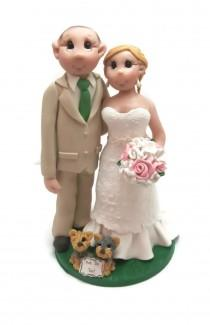 wedding photo - Custom wedding cake topper, pet lovers wedding cake topper, Bride and groom cake topper, Mr and Mrs cake topper, personalized cake topper
