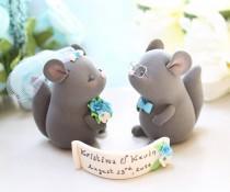wedding photo - Chinchillas Wedding cake toppers - cute funny rustic elegant light pink turquoise blue eyeglasses veil bow tie keepsake custom names pet