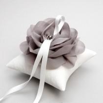 wedding photo - Silver gray ring pillow, wedding ring pillow, flower pillow, ring cushion - Aria