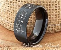 wedding photo - Music Wedding Band Favorite Song Personalized Tungsten Ring Any Music Sheet Laser Engraved Ring Band His Hers Customized Music Ring New Band