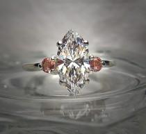 wedding photo - 35 PER CENT OFF...Marquise Warm Cubic Zirconia and Natural Pink Tourmaline Sterling Silver .925 Ring Size 7