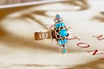 wedding photo - Sold--Reserved for S--Antique Etruscan Revival Turquoise Ring, Victorian Persian Turquoise Ring, Vintage 1880s Rose Gold Ring