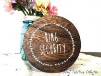 wedding photo - Rustic Ring Bearer Box with Burlap Pillow and Ribbon - Ring Security - RB-1