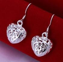 wedding photo - Love Sterling Silver Earrings, 925 Silver Earrings, Em's Lovely Sterling Silver Earrings., Gift For Her