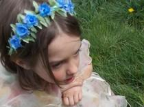 wedding photo - Blue Fairy Flower Garland Headband with Green Leafy Vines and Small Blue Flowers with Gems, Woodland Fairy Crown, Flowergirl Wreath G10