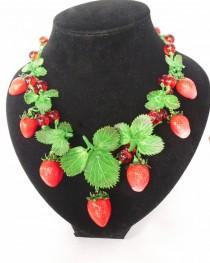 wedding photo - Strawberry necklace berry necklace polymer clay jewelry summer jewelry red berry jewelry green leaves gift for her strawberry jewelry nature