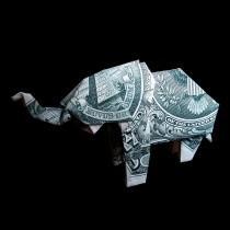 wedding photo - ELEPHANT Art Gift Figurine Money Origami Sculpture Handmade of Real One Dollar Bill Cash Wild Animal