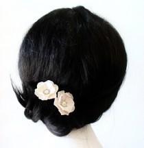 wedding photo - White Flower - Wedding Hair Accessories, Bohemian Wedding Hairstyles Hair Flower - Set
