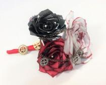 wedding photo -  Silver, black and red Steampunk boutonniere using handcrafted paper roses, Men's buttonhole flower, Prom boutonniere, Mom corsage