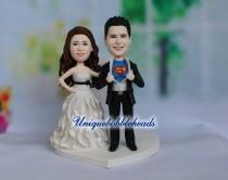 wedding photo - superman wedding cake topper, comic book wedding, geek wedding cake, superhero cake topper, custom wedding cake topper, personalized wedding