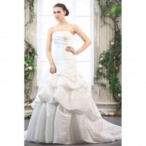 wedding photo - Perfect A-Line Strapless Court Train Taffeta Wedding Dress CWZT1301B - Top Designer Wedding Online-Shop
