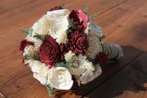 wedding photo - Burgundy Sola Flower Bouquet, Burgundy & Cream Wedding Bouquet, Burgundy Sola Wood Bouquet, Burgundy and Ivory Bouquet, Wine Bouquet