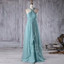 wedding photo - 2017 Turquoise Chiffon Bridesmaid Dress with Ruffle, Y Neck Pleated Bodice Wedding Dress, A Line Long Prom Dress Floor Length (T175)