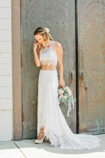 wedding photo - SAMPLE SALE 50% OFF - Lace Wedding Skirt, French Lace and Chantilly Lace Bridal Skirt with Train