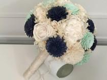 wedding photo - Navy, Mint, Ivory Wedding Bouquet made with sola flowers - choose colors - bridal bouquet - Alternative bouquet - bridesmaids bouquet