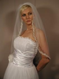 """wedding photo - Wedding veil with silver trimm, pearls, sequins and cystal. Brial veil 32"""" length"""