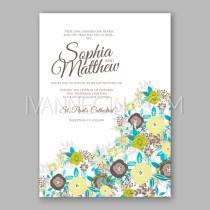 wedding photo - Wedding invitation card template with menthol and green rose - Unique vector illustrations, christmas cards, wedding invitations, images and photos by Ivan Negin