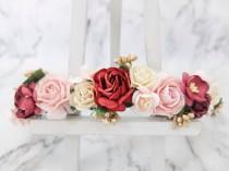 wedding photo - Blush ivory burgundy deep red wedding flower crown - fall head wreath - bridesmaid hair accessories - flower girls - garland