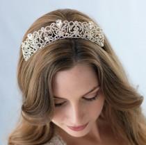 wedding photo - Silver Bridal Tiara, Wedding Crown, Vintage Bridal Tiara, Bridal Hair Accessory, Rhinestone Wedding Tiara, Royal Wedding Crown ~TI-3175