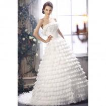 wedding photo - Delicate Princess Strapless Court Train Organza Wedding Dress CWLT13082 - Top Designer Wedding Online-Shop