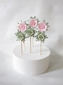 wedding photo - Wedding Cake Paper Flower Decorations