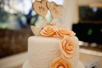 wedding photo - Wooden cake topper Mr & Mrs,Triple Heart Cake Topper, Customise Topper, Wedding Cake Topper, Rustic Wedding Cake