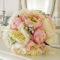 wedding photo - Peony bouquet / Rose bouquet / Silk wedding flowers / Bridal bouquet / Silk wedding bouquet / Bridal flowers / Rose bouquet / Tahlia BB