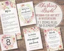 wedding photo - Watercolor floral clip art set: Blushing Bride; wedding clip art; weddings; hand painted watercolors in pink and ivory; instant download