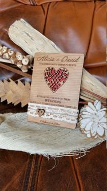 wedding photo - love heart wedding invitation (25)/ wood Wedding invitation/ unique wedding invitation /rustic wedding invitation / lace wedding invitation
