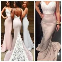 wedding photo - Mermaid Backless Sexy Spaghetti Straps Popular Prom Dresses,Custom Cheap Bridesmaid Dresses, PD0019