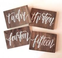 wedding photo - Rustic Wedding Signs, Wooden Wedding Table Numbers, Calligraphy Table Numbers, Spanish Table Numbers, Destination Table Numbers