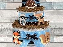 wedding photo - Set of 6 Woodland Animals Baby Shower Diaper Cake Toppers, Forest Friends First Birthday Centerpieces