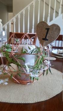 wedding photo - 10 x Heart Shaped Burlap/Hessian Table Number Signs for Weddings, Engagements, Parties, Celebrations etc