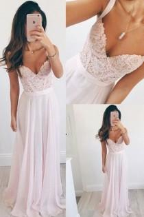 wedding photo - Long Chiffon Baby Pink Long Prom Dress A Line Spaghetti Straps Lace Evening Dresses From Hiprom