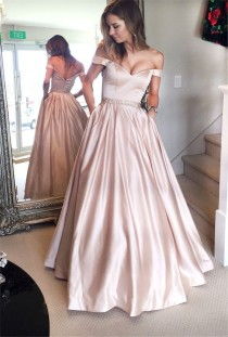 wedding photo - Off The Shoulder Prom Dresses,Long