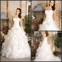 wedding photo -  Dreams 2017 Gorgeous Romantic Ruffles Organzas Sweetheart Bridal Dresses A-line Wedding Dresses Bridal Gowns Sweep Train Lace Up Lace Luxury Illusion Online with $1