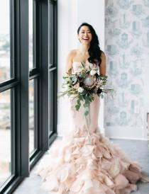 wedding photo - Industiral Meets Modern Wedding With A Blush Wedding Gown - Weddingomania