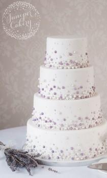 wedding photo - Modern Pearl Embellished Wedding Cake!