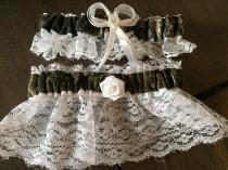 wedding photo - Camouflage Camo  Wedding Bridal Lace trim Garters Set Regular/Plus Size Mossy oak or Realtree
