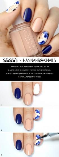 wedding photo - Mani Monday: Nude And Navy Blue Floral Nail Tutorial (Lulus.com Fashion Blog)