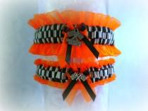 wedding photo - Racing inspired wedding garter set with checkered flags charms