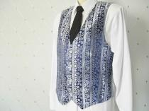 wedding photo - Men's Vest, Brocade, Blue Vest, Silver Vest, Wedding Vest, Groom Vest, Groomsmen Vest, Men's Waistcoat, Men's Suit, Groom's Vest