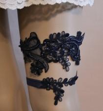 wedding photo - Black Wedding Garter, Black Lace Wedding Garter Set, Unique Black Floral Lace Bridal Garter Belt, Black Lace Bridal Garter Set, BLL=