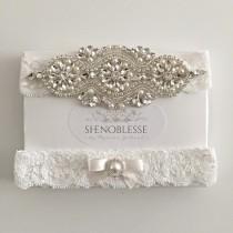 wedding photo - LEILA ~ Wedding garters-lace wedding garter-ivory lace garter-white garter-champagne garter-crystal garter-nude garter