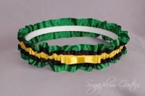 wedding photo - Jamaican Flag Wedding Garter in Yellow, Green and Black Satin with Tailored Bow