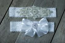 wedding photo - Rhinestone Garter Set, Pearl Wedding Garter Set, Rhinestone Wedding garter  Bridal Garter Set  Custom Fit