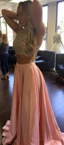 wedding photo - Sparkle Pink Two Piece Prom Dress